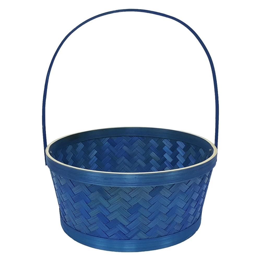 Easter Large Herringbone Bamboo Blue Basket - Spritz