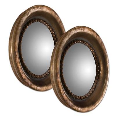 Round Tropea Wood Mirror Set of 2 - Uttermost