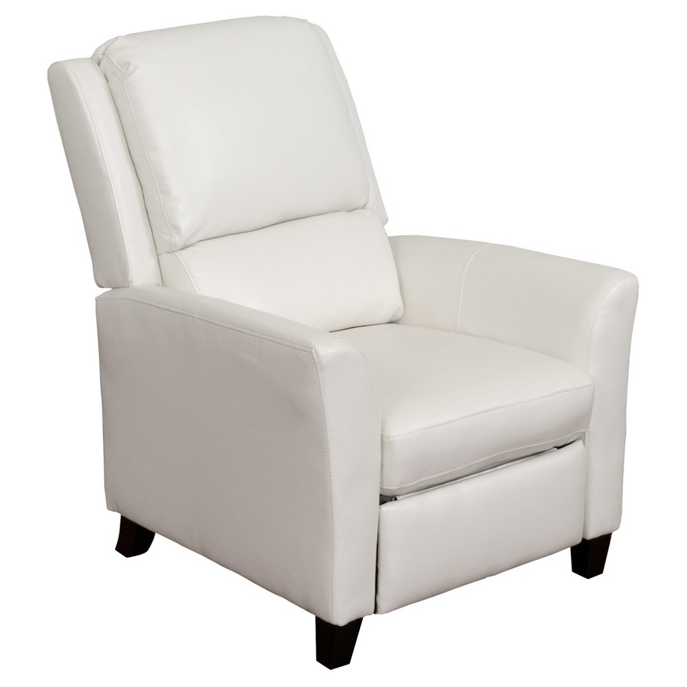 Kate White Bonded Leather Recliner - Corliving