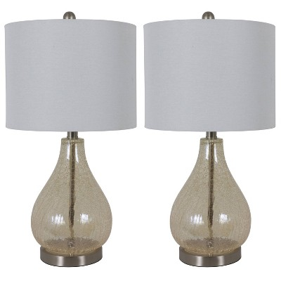 "22.5"" Set of 2 Crackled Teardrop Table Lamp Iridescent Gold - Decor Therapy"