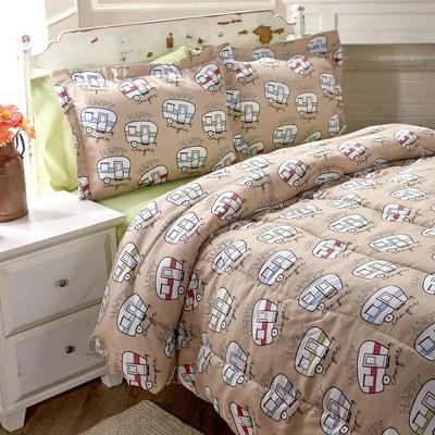 Lakeside Happy Camper Comforter Set - Cute Bedding for Outdoor Lovers, Kids, Teens