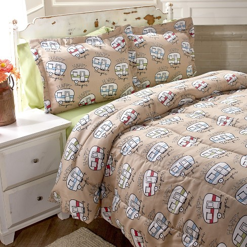 Lakeside Happy Camper Comforter Set, Travel Themed Twin Bedding