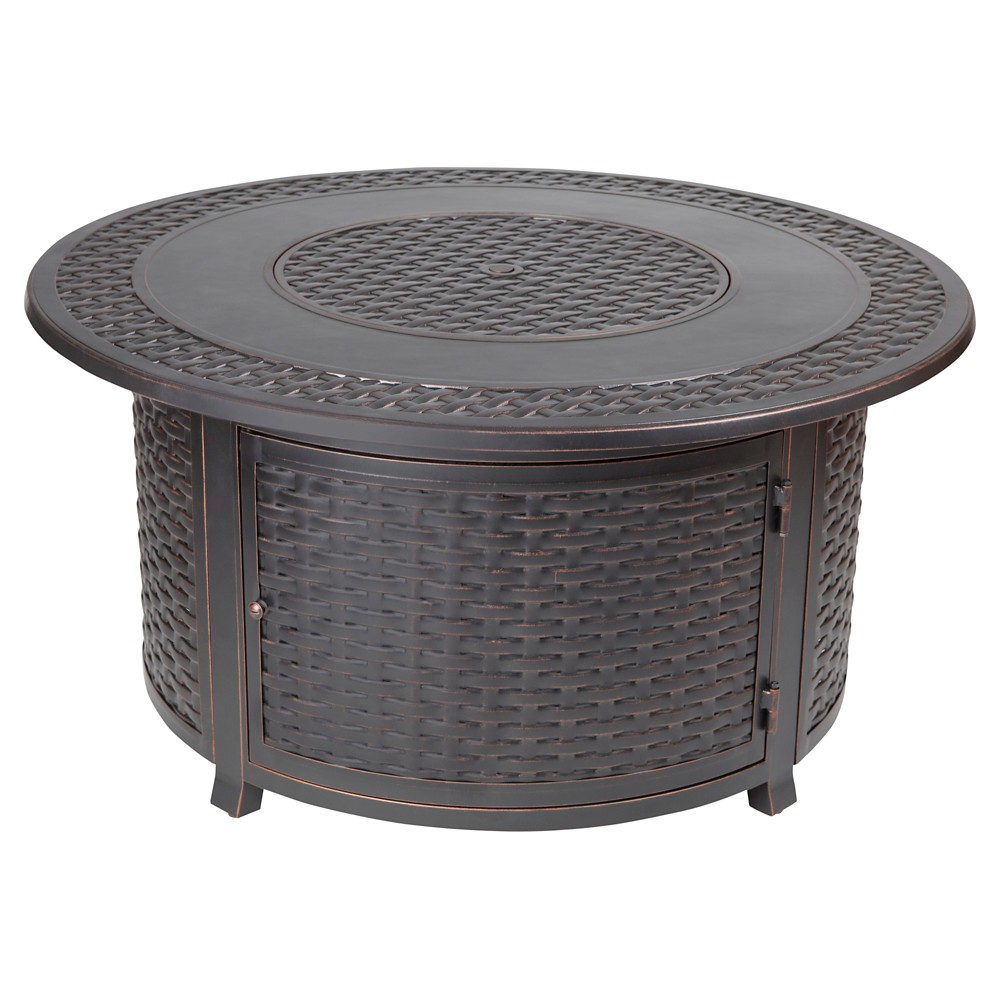 Image of Bellante Woven Cast Aluminum Lpg Fire Pit - Brown - Fire Sense