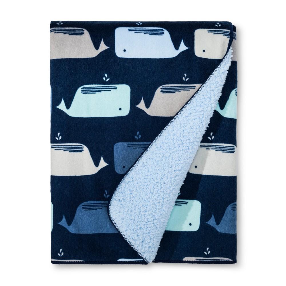 Plush Velboa Baby Blanket Whales Cloud Island 8482 Navy