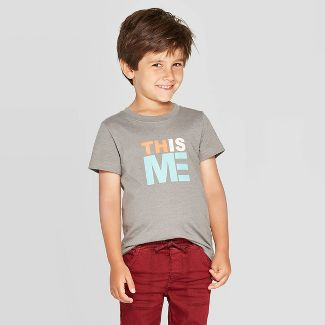 Toddler Boys' This Is Me Short Sleeve Graphic T-Shirt - Cat & Jack™ Gray 12M