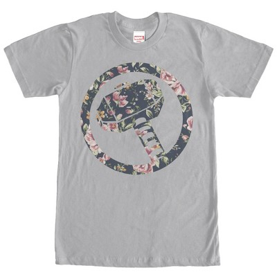 Men's Marvel Hammer Thor Floral Print T-Shirt