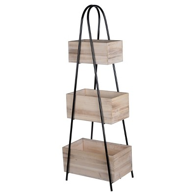 Trio Triangle Storage Stand With Wood Boxes - A&B Home