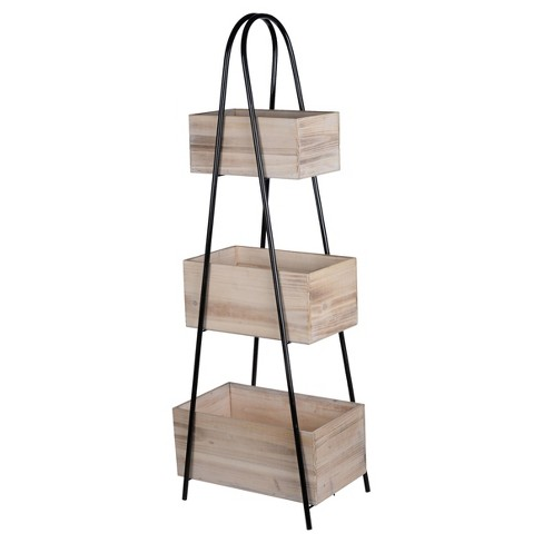 Trio Triangle Storage Stand With Wood Boxes - A&B Home - image 1 of 2