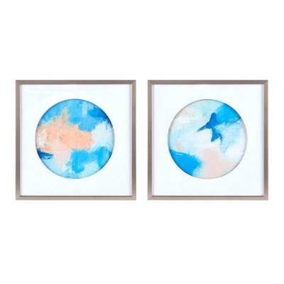 2pc Abstract Groove Framed and Matted Canvas Decorative Wall Art