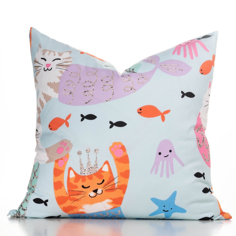 "Image of ""16""""x16"""" Purrmaids Accent Throw Pillow With Sham Light Blue - Crayola"""