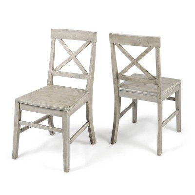 Set of 2 Roshan Farmhouse Acacia Dining Chairs Light Gray - Christopher Knight Home
