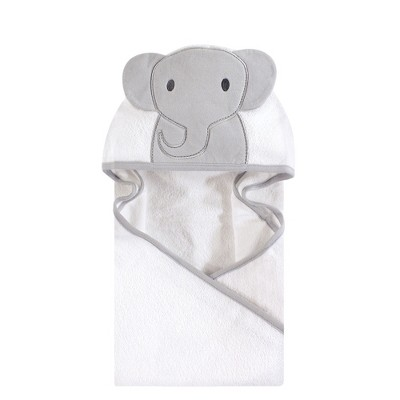 Hudson Baby Infant Cotton Animal Face Hooded Towel, Modern Elephant, One Size