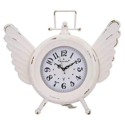 Angel Shaped Table Clock Vintage White - Aurora® - image 1 of 1