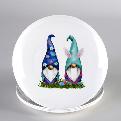 Lakeside Melamine Easter Gnomes with Rabbit Ears Dinner Plates - Set of 4
