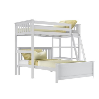 Max & Lily L Shape Twin over Full Bunk Bed with Bookcase