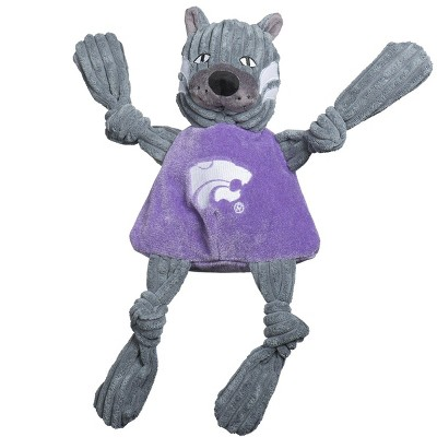 HuggleHounds Knotties Durable Plush Toy for Dogs with Multiple Squeakers, Kansas State Willie the Wildcat Knottie