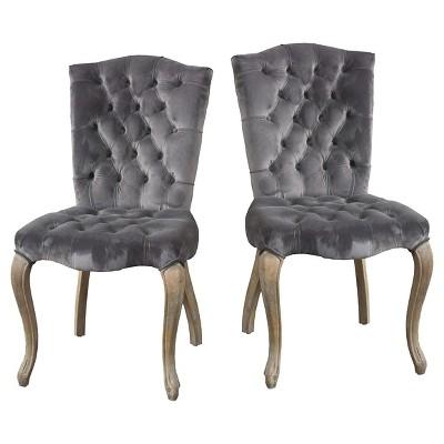 Set of 2 Moira New Velvet Dining Chair Charcoal - Christopher Knight Home