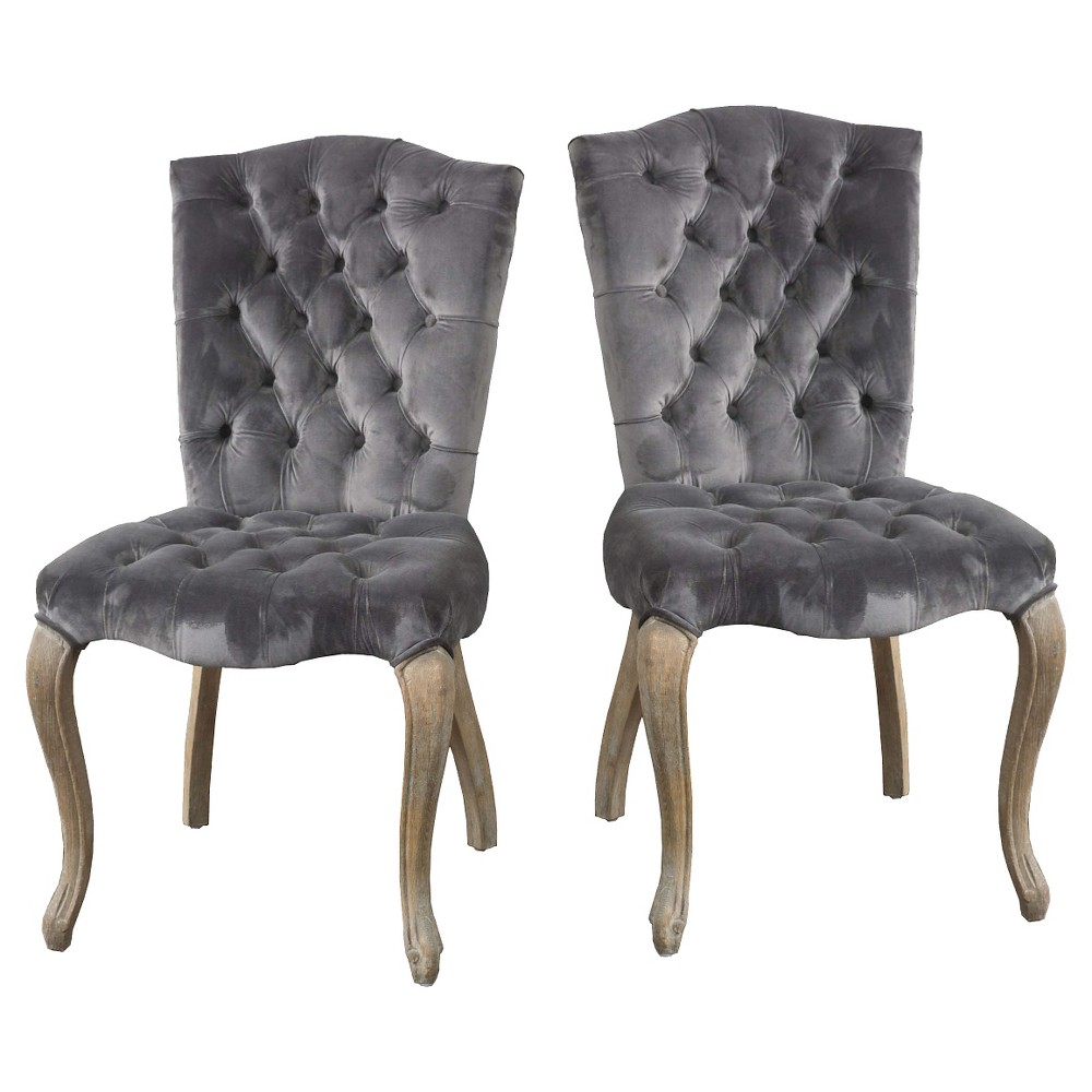 Set of 2 Moira New Velvet Dining Chair Charcoal - Christopher Knight Home was $523.99 now $366.79 (30.0% off)