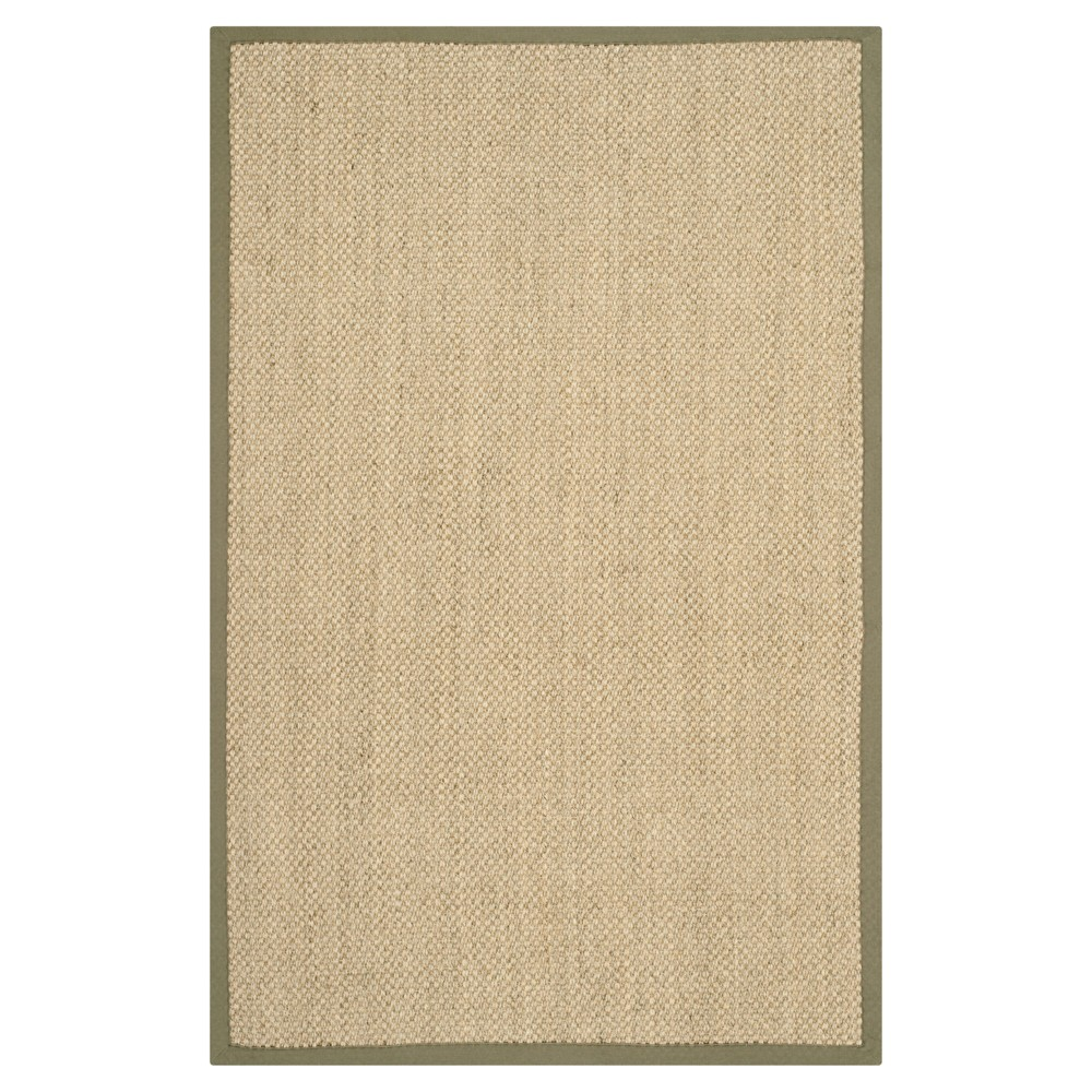 2 6 X4 Solid Woven Accent Rug Natural Green Safavieh