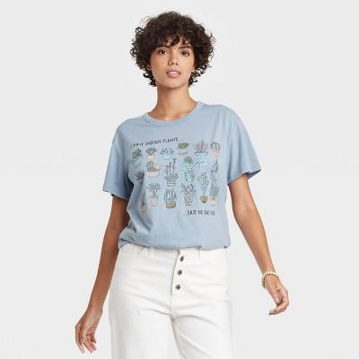 Women's Enough Plants Short Sleeve Graphic T-Shirt - Blue
