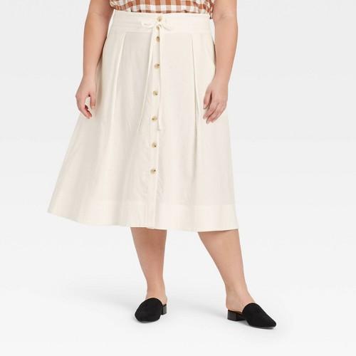 Women S Plus Size Midi A Line Skirt A New Day Cream 3X Ivory
