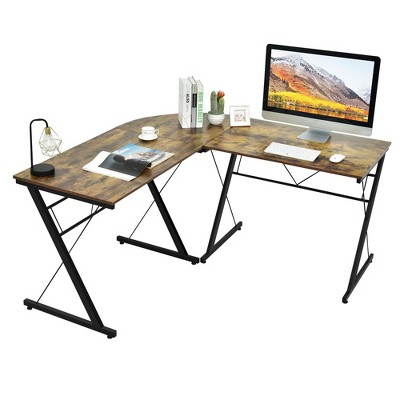Costway 59'' L-Shaped Computer Table Study Workstation  Home Office Brown\Black
