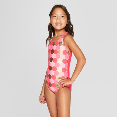 9a2553a39abc4 Girls  Foil Dot One Piece Swimsuit - Cat   Jack™ Pink