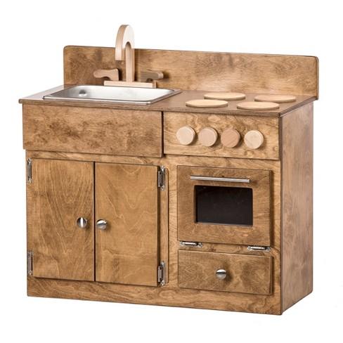 Remley Kids Wooden Play Kitchen Set Sink Oven Stove - Ships Assembled,  Harvest