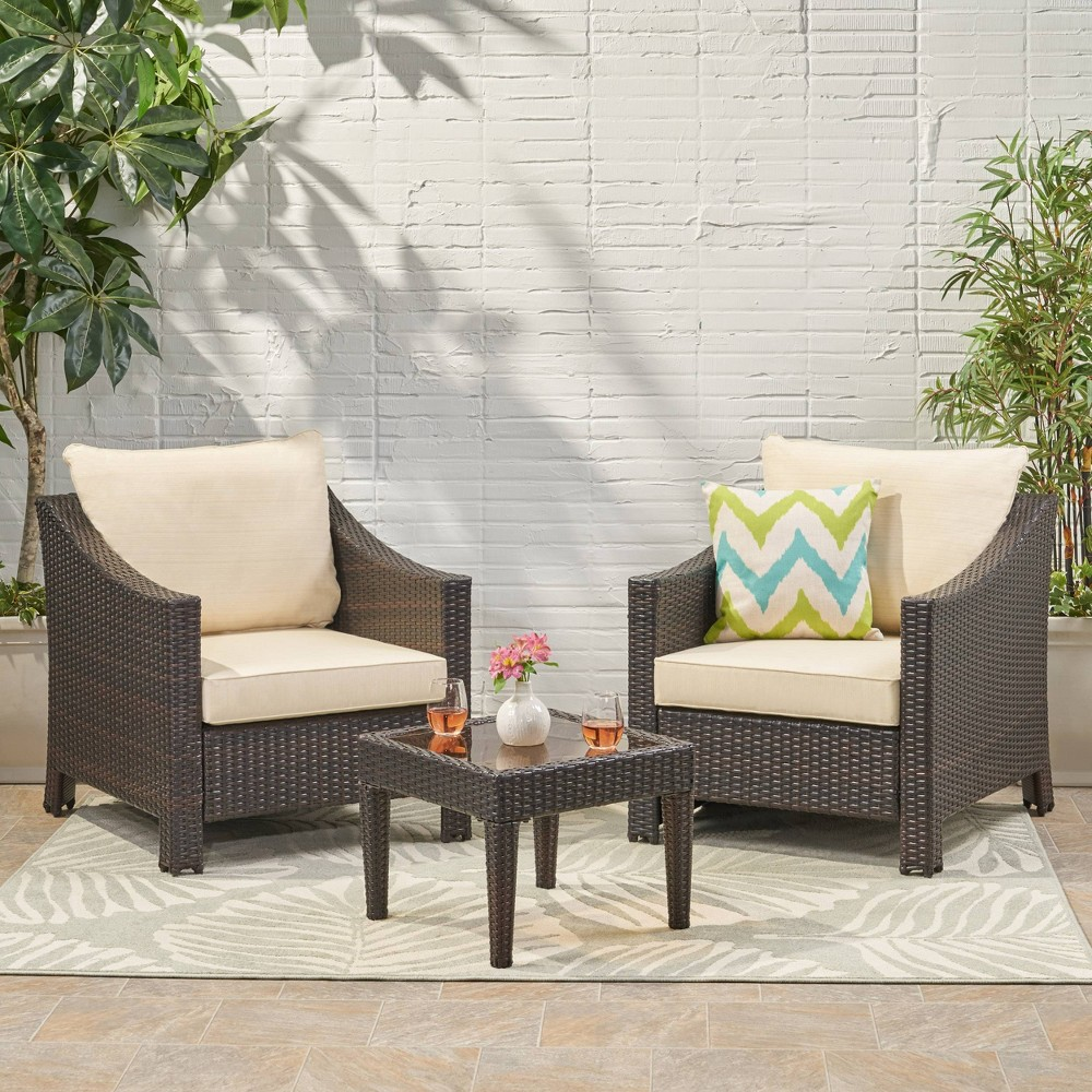 Antibes 3pc Wicker Patio Bistro Set With Cushions Brown Christopher Knight Home
