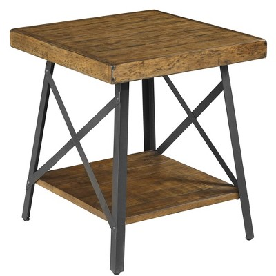 Wallace & Bay T100-1 Chandler Hardwood Square Accent Side Table with Storage Shelf for Household Essentials and Reliable Metal Legs
