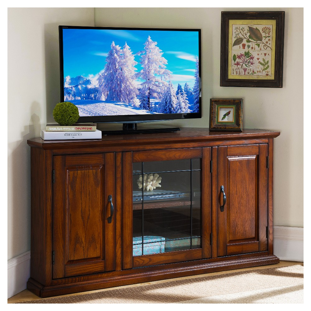 50 Leaded Glass Corner TV Stand - Burned Oak (Brown) Finish - Leick Home