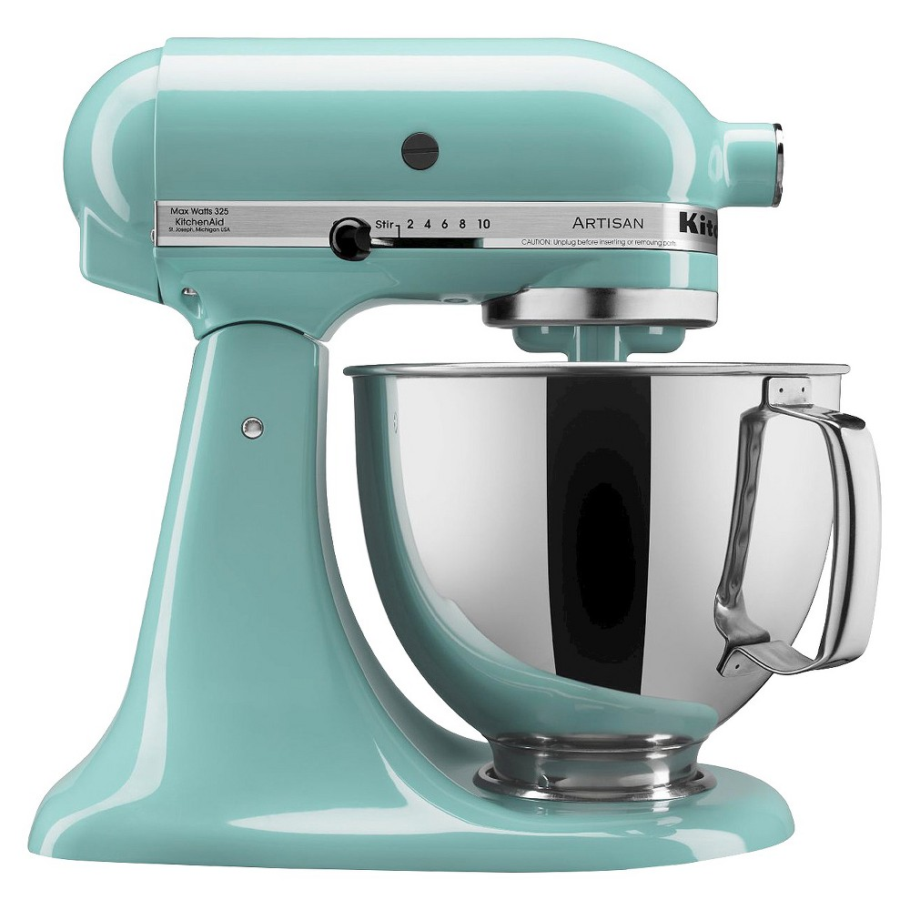KitchenAid Artisan Series 5 Quart Tilt-Head Stand Mixer- Ksm150, Aqua Sky Whether you're looking for a housewarming or wedding gift, or simply looking to add a versatile tool to your own kitchen, this KitchenAid Artisan Stand Mixer is the perfect solution. It features 10 different speed settings, a tilt-head design, and a 5-quart stainless steel mixing bowl that fits a variety of different mixing needs. This electric stand mixer comes with a dough hook, flat beater, wire whisk and pouring shield so you can create a wide range of baked goodies or recipes with ease. The accessory hub on the front of the mixer allows you to buy additional attachments to utilize this mixer even more. This sturdy and durable stand mixer has a 325-watt motor that can handle the thickest doughs or mixing-intense recipes with ease. The sleek and modern design will add a pop of style to any kitchen countertop and will always be at your fingertips when you need to whip up baked goodies or homemade recipes. Color: Aqua Sky.
