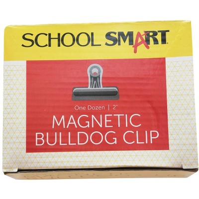 School Smart Magnetic Clips, 2 Inches, Nickel Plated, pk of 12