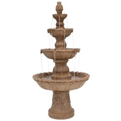 "52"" Pineapple 4-Tier Outdoor Water Fountain - Earth - Sunnydaze Decor"