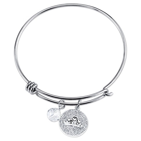 "Women's Stainless Steel Royal and Loyal Princess Crystal Wire Bracelet - Silver (8"") - image 1 of 2"