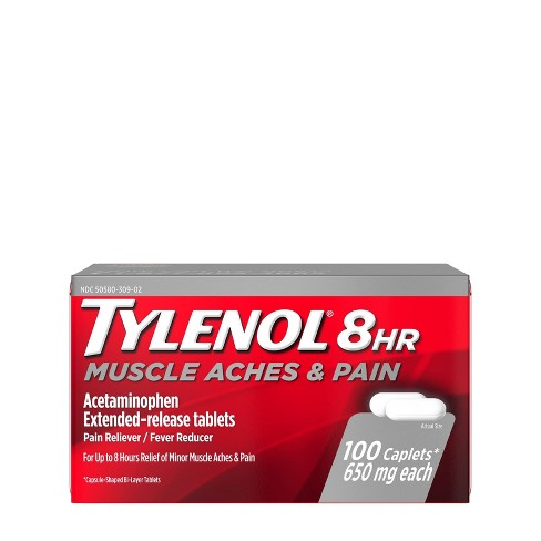 Tylenol 8 Hour Muscle Aches & Pain Tablets - Acetaminophen - 100ct - image 1 of 4