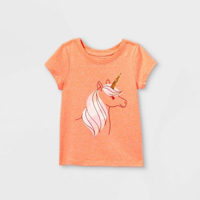 Toddler Girls' Unicorn Tie-Dye Short Sleeve T-Shirt - Cat & Jack™ Peach
