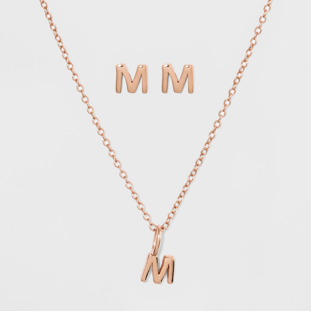 Sterling Silver Initial M Earrings and Necklace Set - A New Day Gold, Girl's, Size: Medium, Gold - M