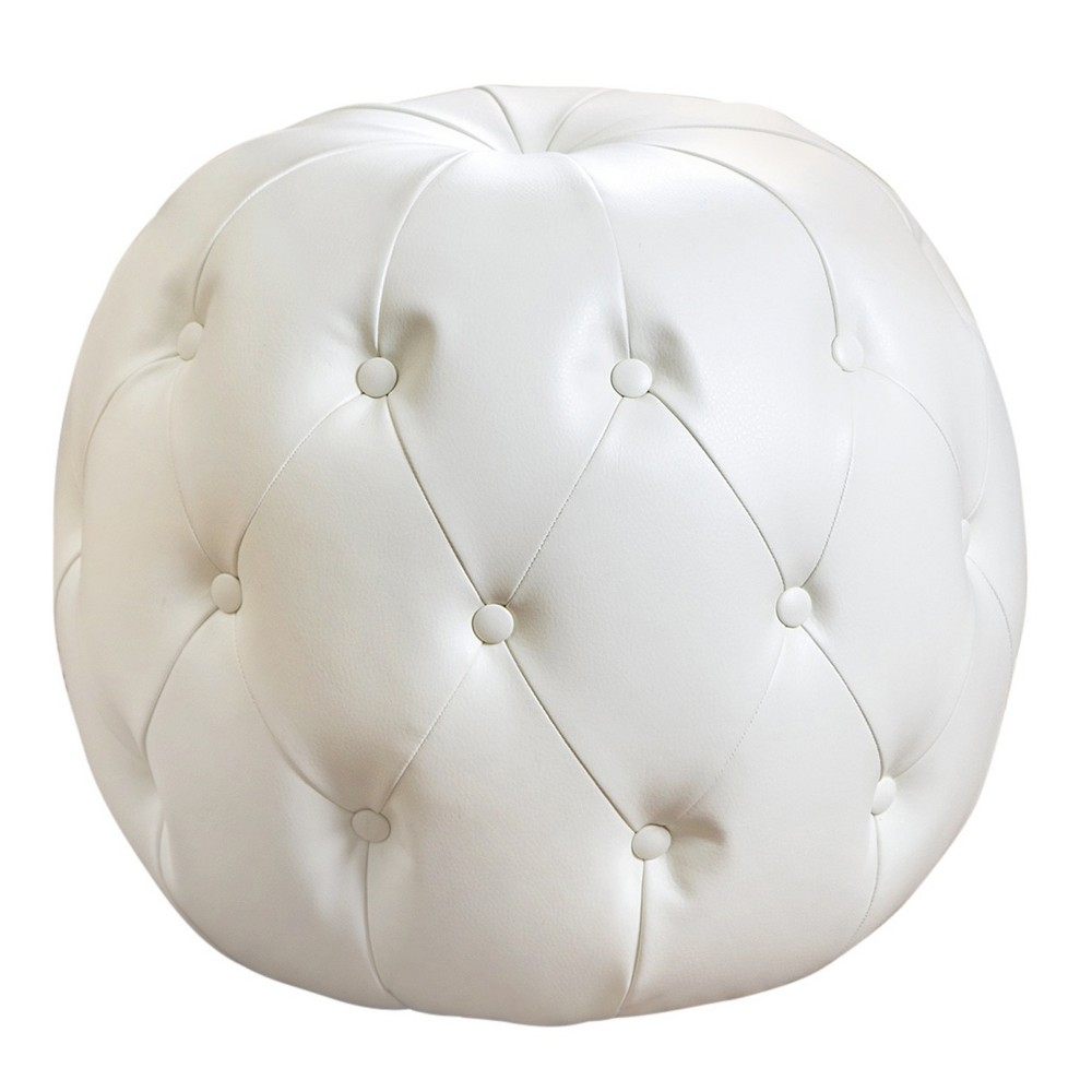 Grand Tufted Leather Ottoman - Ivory - Abbyson Living, Blue