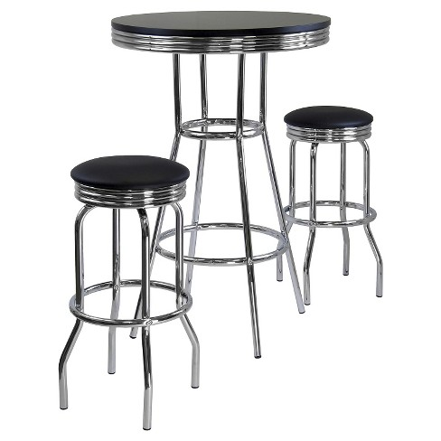 3 Piece Summit Set Pub Table Bar Height with Swivel Stools Black/Bright Chrome - Winsome - image 1 of 1