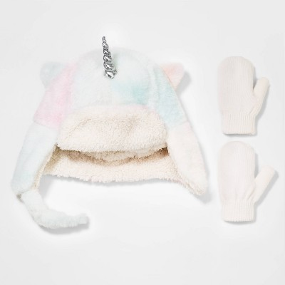 Toddler Girls' 2pk Fuzzy Unicorn Trapper with Mittens - Cat & Jack™ 12-24M