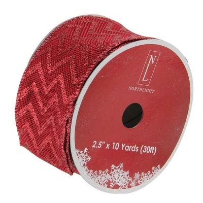 "Northlight Wine Red Glitter Chevron Wired Christmas Craft Ribbon 2.5"" x 120 Yards"