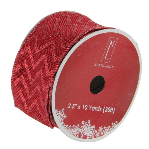 """Northlight Pack of 12 Wine Red Glitter Chevron Burlap Wired Christmas Craft Ribbon Spools - 2.5"""" x 120 Yards Total - image 1 of 3"""
