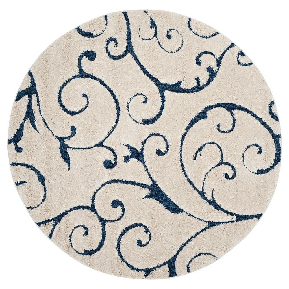 Cream/Blue (Ivory/Blue) Abstract Shag/Flokati Loomed Round Area Rug - (6'7 Round) - Safavieh