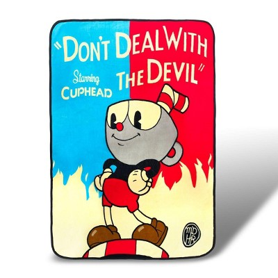 Just Funky Cuphead Don't Deal with the Devil Lightweight Fleece Blanket | 45 x 60 Inches