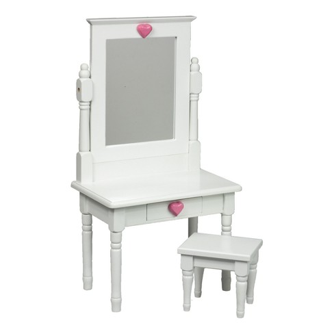 "The Queen's Treasures White Wooden Vanity Table Desk & Stool for 18"" Dolls - image 1 of 4"