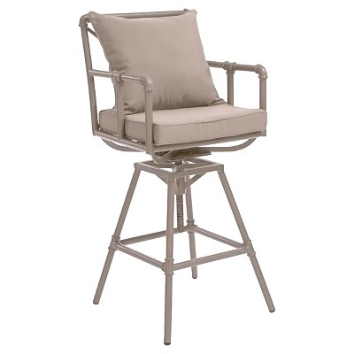 Northrup Pipe Iron Adjustable Barstool with Cushions - Christopher Knight Home