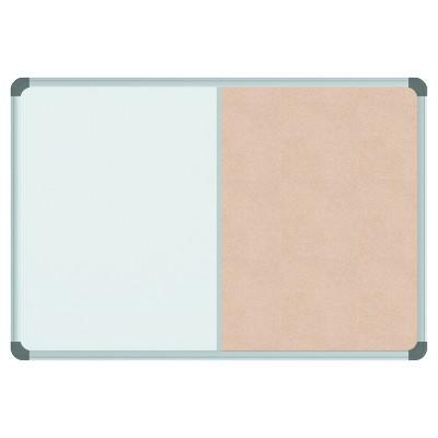 Universal® Cork/Dry Erase Board, Melamine, 24 x 18, Black/Gray Aluminum/Plastic Frame