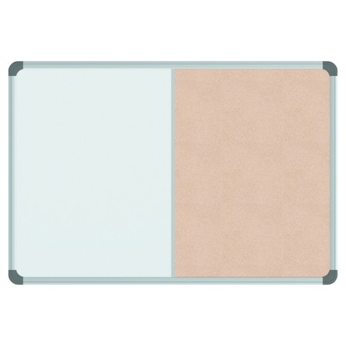 Universal® Cork/Dry Erase Board, Melamine, 24 x 18, Black/Gray ...