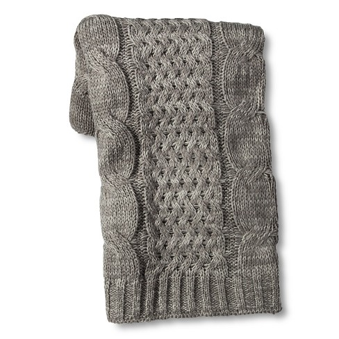 Cable Knit Throw Blanket Gray - Threshold™ - image 1 of 1
